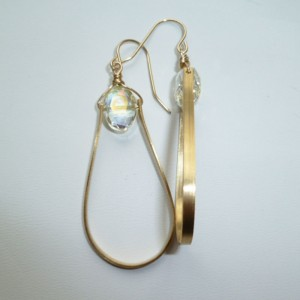 Beaded Teardrop Earrings - Gold