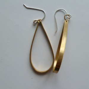 Flat Teardrop Earrings - Gold